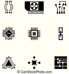 microchip icon set