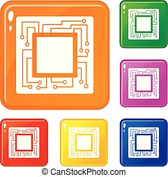 Microchip icons set vector color