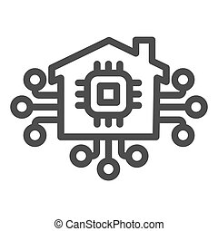 Microchip in building and connections line icon, smart home concept, technology vector sign on white background, electronic chip with house icon outline style. Vector graphics.