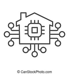 Microchip in building and connections thin line icon, smart home concept, technology vector sign on white background, electronic chip with house icon outline style. Vector graphics.