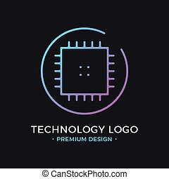 Microchip line icon. CPU, Central processing unit, computer processor, chip symbol in circle. Abstract technology logo. Simple round icon. Creative modern vector logo