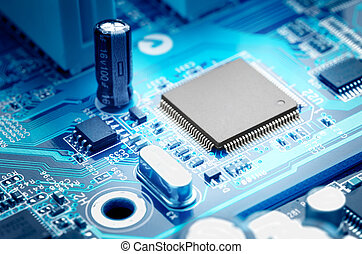 microchip - macro image electronic circuit board with...