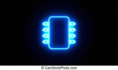 Microchip neon sign appear in center and disappear after some time. Animated blue neon icon on black background. Looped animation.