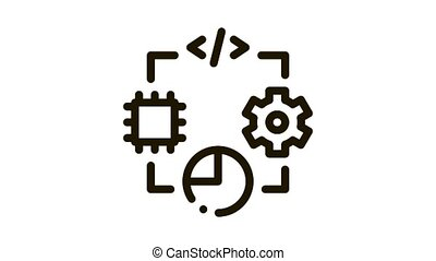 microchip programming code mechanical gear and infographic Icon Animation. black microchip programming code mechanical gear and infographic animated icon on white background