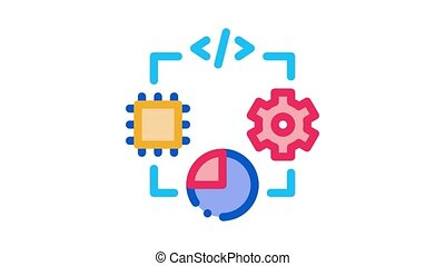 microchip programming code mechanical gear and infographic Icon Animation. color microchip programming code mechanical gear and infographic animated icon on white background