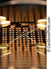 Microchip under microscope