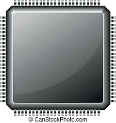 microchip - illustration of a microchip cpu isolated on...