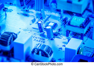 Microcircuit board with capacitors and chips