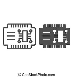 Microcircuit line and glyph icon. Car electronics vector illustration isolated on white. Automobile circuit outline style design, designed for web and app. Eps 10.