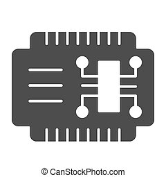 Microcircuit solid icon. Car electronics vector illustration isolated on white. Automobile circuit glyph style design, designed for web and app. Eps 10.