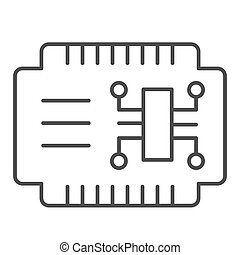 Microcircuit thin line icon. Car electronics vector illustration isolated on white. Automobile circuit outline style design, designed for web and app. Eps 10.