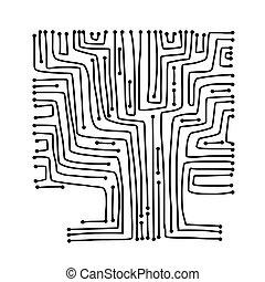 microcircuito, desenho, conceito, árvore, seu