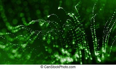 microcosme, render, résumé, dynamique, espace, seamless, fiction, particules, champ, 4, numérique, animation., 3d, bokeh., space., fond, lueur, science, ou, profondeur, vert, 4k, instruments à cordes, boucle