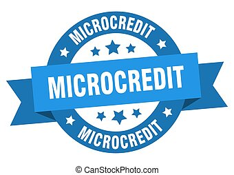 microcredit round ribbon isolated label. microcredit sign