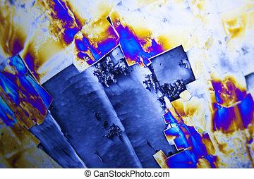 microcrystals, de, acide tartrique, dans, lumière polarisée