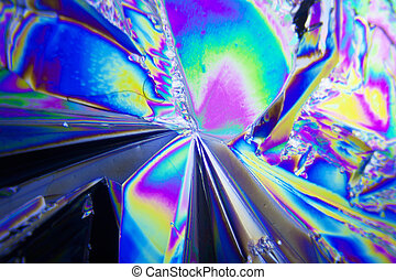 Microcrystals of tartaric acid in polarized light