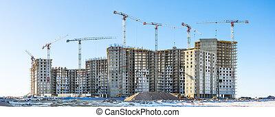 microdistricts, grues, résidentiel, site, maisons, panoramique, construction, grand, vue