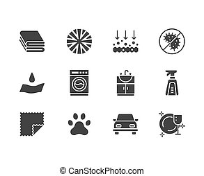 Microfiber cloth properties flat glyph icons. Absorbing...