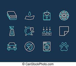 Microfiber cloth properties flat line icons. Absorbing...