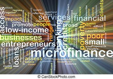 microfinance, concept, gloeiend, achtergrond