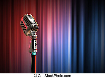 microfone, áudio, estilo, retro