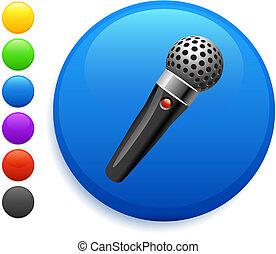 microfone, ícone, ligado, redondo, internet, botão