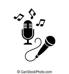 microfone, ícones, branca, isolado