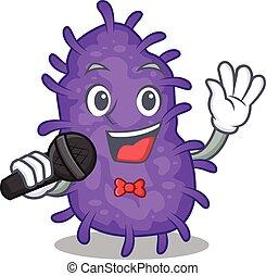 microfone, bactérias, caricatura, personagem, cantor, segurando, talentoso, bacilli