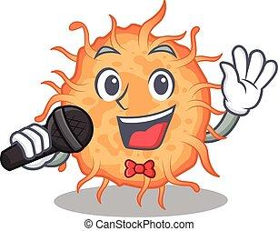 microfone, bactérias, caricatura, personagem, cantor, segurando, talentoso, endospore