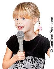 microfone, cantando, criança