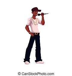 microfone, cantor, jovem, segurando, macho africano