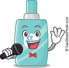 microfone, caricatura, creme, personagem, cantor, segurando, talentoso, ointment