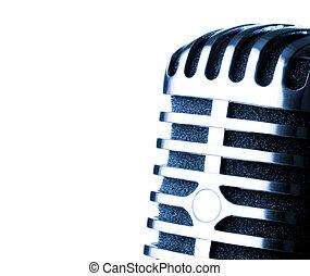 microfone, closeup, retro