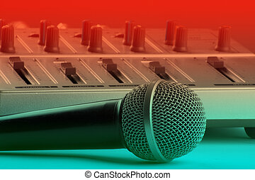 microfone, com, misturador