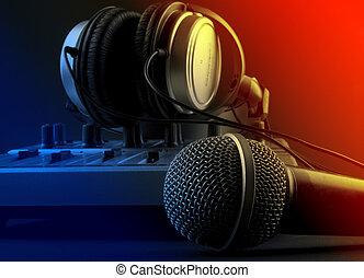 microfone, com, misturador, e, fones