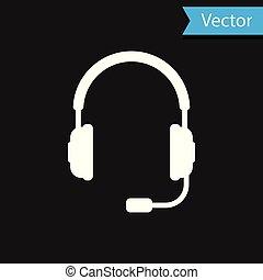 microfone, conceito, serviço, comunicação, sinal., objeto, ilustração, experiência., vetorial, pretas, escutar, operator., música, branca, fones, fones ouvido, ícone