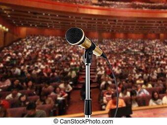 microfone, corredor, seminário