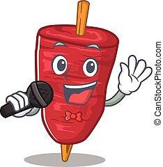 microfone, doner, caricatura, kebab, personagem, cantor, segurando, talentoso