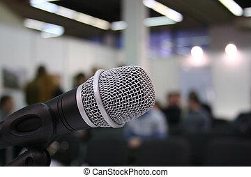 microfone, em, auditório