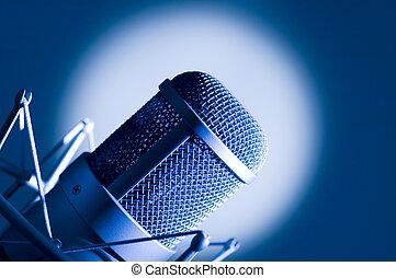 microfone, em, studio.