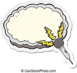 microfone, espaço, texto, adesivo, caricatura, nuvem