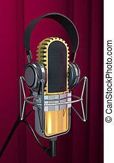microfone, estúdio, illustration)., (3d, fone