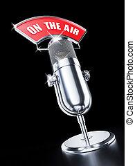 microfone, experiência preta, ar