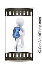 microfone, faixa, película, homem, experiência., 3d, branca