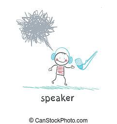 microfone, falando, mau, orador, pensa, pensamentos