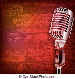 microfone, grunge, abstratos, fundo, retro