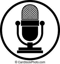 microfone, icon.