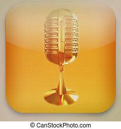 microfone, illustration., vindima, ícone, style., 3d