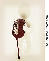 microfone, illustration., vindima, fundo, branca, homem, style., 3d
