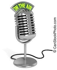 microfone, ilustração, 3d